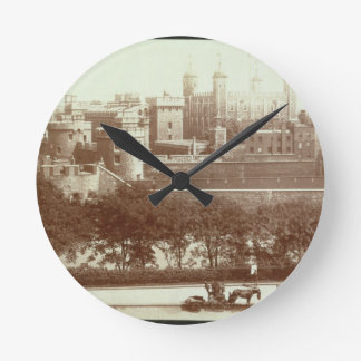 The Tower of London (sepia photo) Round Clock