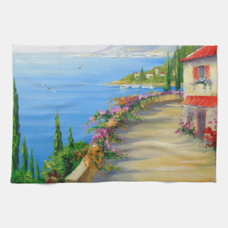 The town by the sea tea towel
