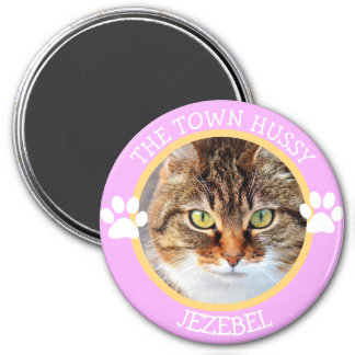 THE TOWN HUSSY CAT Humourous Pawprints Photo 7.5 Cm Round Magnet