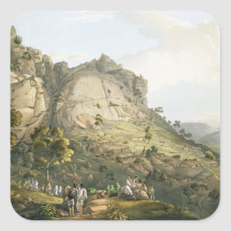 The Town of Abha in Abyssinia, engraved by J. Bluc Square Sticker