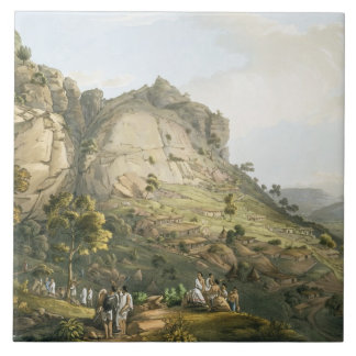 The Town of Abha in Abyssinia, engraved by J. Bluc Tile