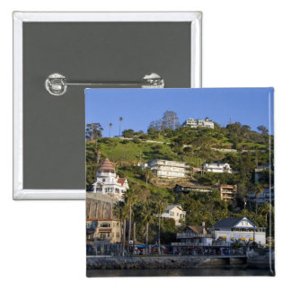 The town of Avalon on Catalina Island, 15 Cm Square Badge