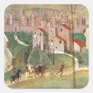 The Town of Prato (fresco) Square Sticker