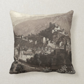 The Town of Sion Rudisuhli Antique Engraving Cushion