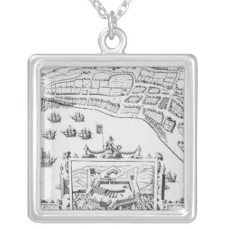 The Towne and Platforme of Fayall Silver Plated Necklace
