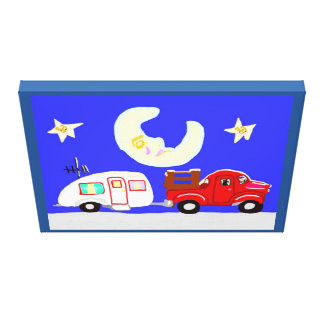 The Trailer, The Truck And The Sleepy Moon Stretched Canvas Print