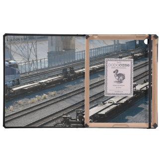 the train and tracks iPad folio cover