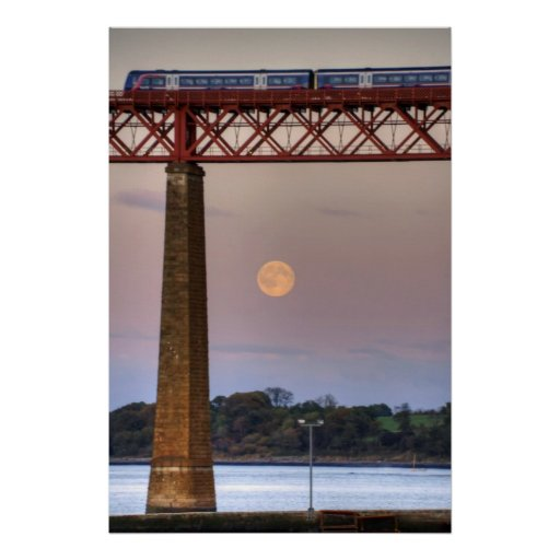 The train flew over the Moon Poster