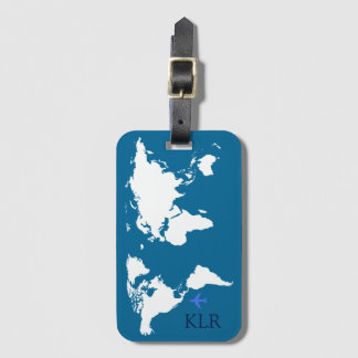 the traveler, map with personalized initials luggage tag