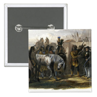 The Travellers Meeting with Minatarre Indians near 15 Cm Square Badge