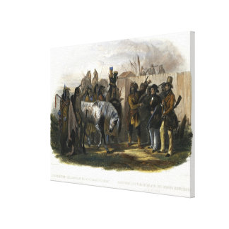 The Travellers Meeting with Minatarre Indians near Canvas Print