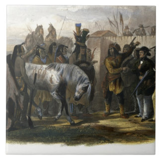 The Travellers Meeting with Minatarre Indians near Large Square Tile