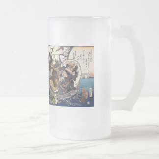 The treasure boat which places seven luck God Frosted Glass Mug
