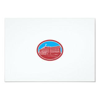 The Treasury Building Washington DC Woodcut Retro 9 Cm X 13 Cm Invitation Card