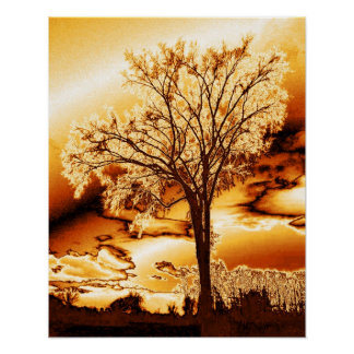 The Tree in Molten Gold Print