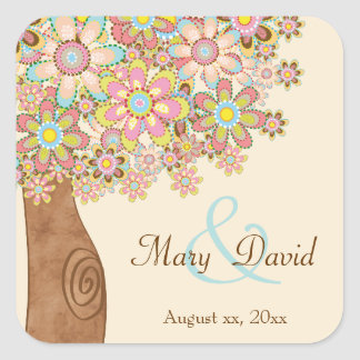 The Tree of Love Wedding Square Sticker