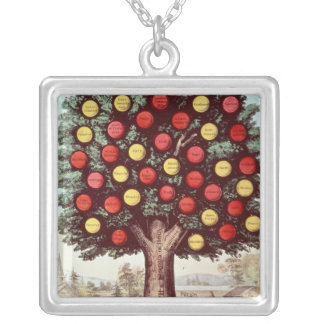 The Tree of Temperance, 1872 Silver Plated Necklace