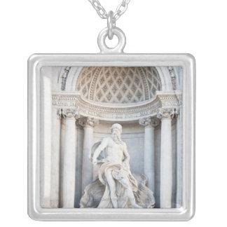 The Trevi Fountain (Italian: Fontana di Trevi) 3 Square Pendant Necklace