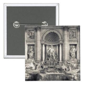 The Trevi Fountain (Italian: Fontana di Trevi) 4 15 Cm Square Badge