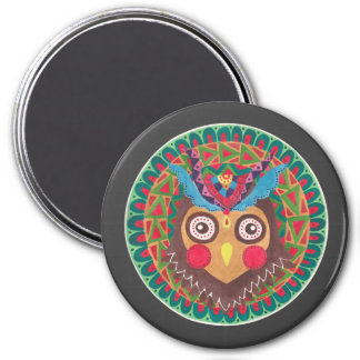 The Tribal Great Horned Owl 7.5 Cm Round Magnet