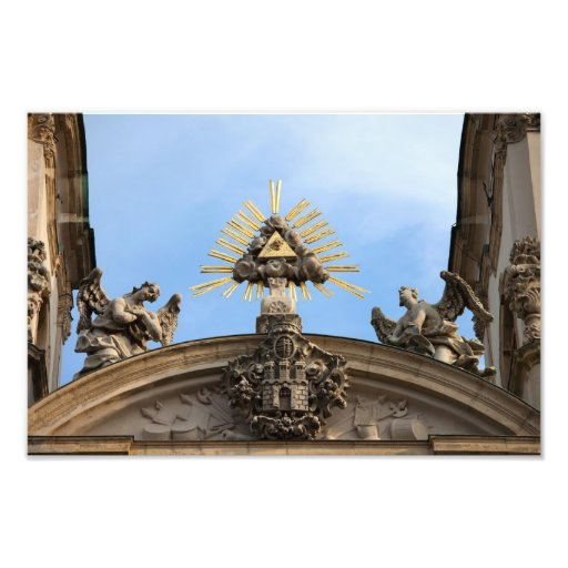 The Trinity Symbol and Angels Statues Photo Art