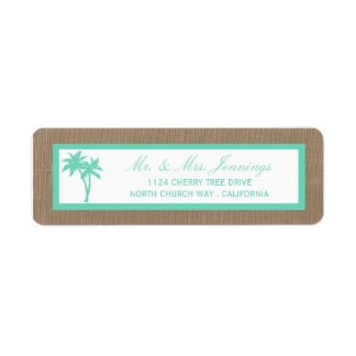 The Tropical Palm Tree Beach Wedding Collection Return Address Label