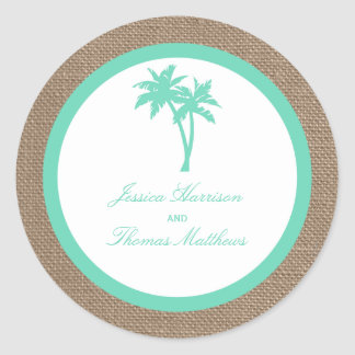 The Tropical Palm Tree Beach Wedding Collection Round Sticker