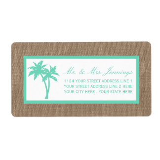 The Tropical Palm Tree Beach Wedding Collection Shipping Label