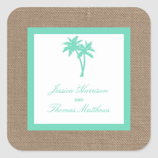 The Tropical Palm Tree Beach Wedding Collection Square Sticker