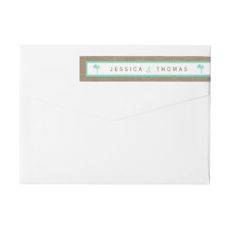 The Tropical Palm Tree Beach Wedding Collection Wrap Around Label