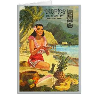 The Tropics classic Tiki menu Greeting Card
