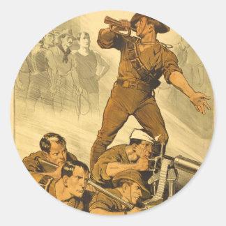 The Trumpet Calls Vintage WW1 Poster Classic Round Sticker