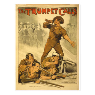 The Trumpet Calls Vintage WW1 Poster Postcard