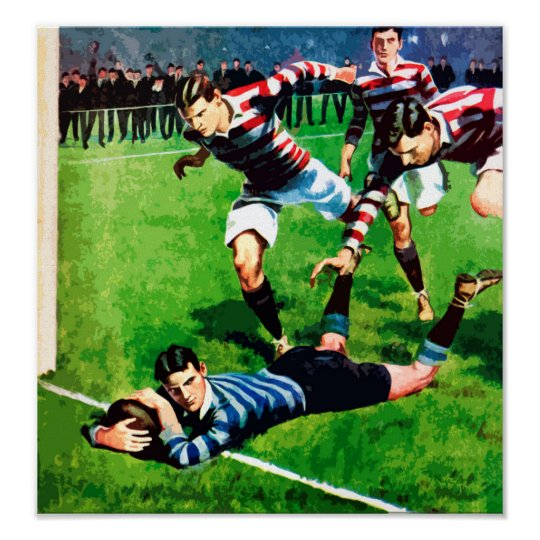 The Try - Vintage Rugby Art On Canvas