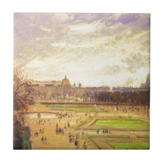 The Tuileries Gardens 2 by Camille Pissarro Small Square Tile
