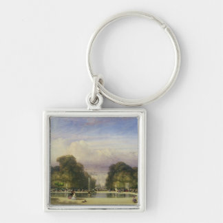 The Tuileries Gardens, with the Arc de Triomphe in Silver-Colored Square Key Ring