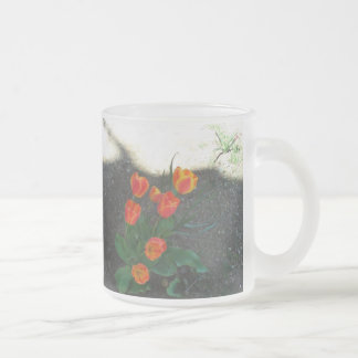 The Tulip Coffee Cup Frosted Glass Mug