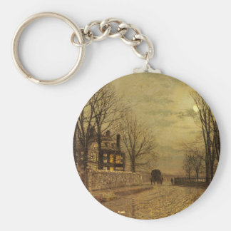 The Turn of the Road by John Atkinson Grimshaw Basic Round Button Key Ring