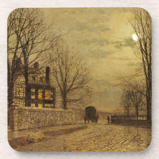 The Turn of the Road by John Atkinson Grimshaw Drink Coasters