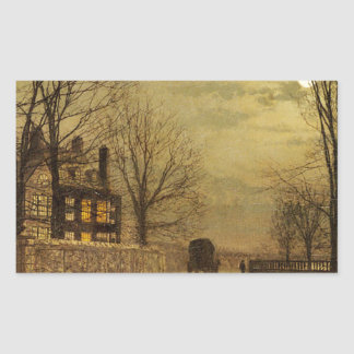 The Turn of the Road by John Atkinson Grimshaw Rectangular Sticker