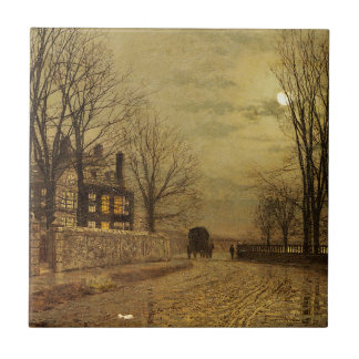 The Turn of the Road by John Atkinson Grimshaw Small Square Tile