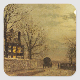 The Turn of the Road by John Atkinson Grimshaw Square Sticker