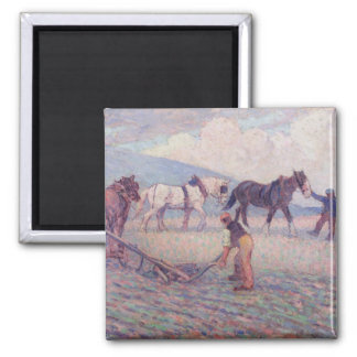 The Turn-Rice Plough, c.1909 (oil on canvas) Square Magnet