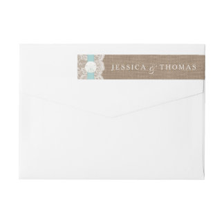 The Turquoise Sand Dollar Beach Wedding Collection Wrap Around Label