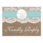 The Turquoise Sand Dollar Wedding Collection RSVP Postcard