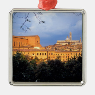 The Tuscan village of Sienna, Italy. Silver-Colored Square Decoration