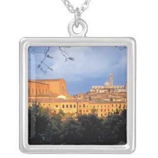 The Tuscan village of Sienna, Italy. Silver Plated Necklace