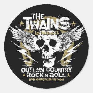 The TWAINS Skull n' Horseshoe sticker! Classic Round Sticker