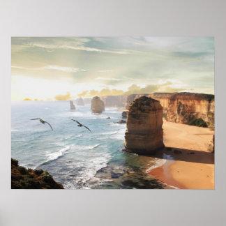 The Twelve Apostles beach view Australia Poster