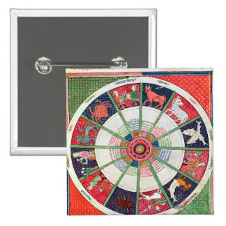 The Twelve Signs of the Zodiac and the Sun 15 Cm Square Badge